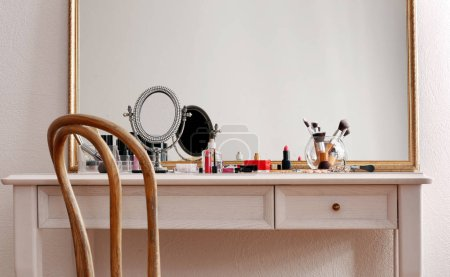 Cosmetics on dressing table