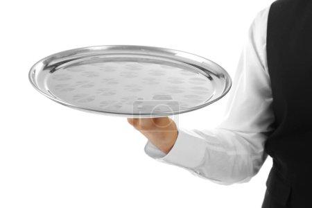 Waiter holding tray