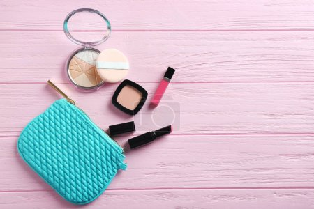 make up bag and decorative cosmetics