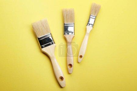 Photo pour Trois brosses sur fond jaune - image libre de droit