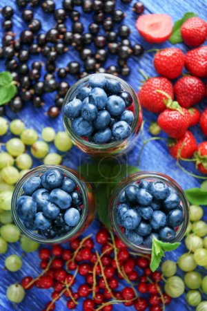 Glass jars with fruits