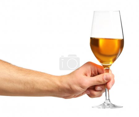 Male hand holding glass with wine