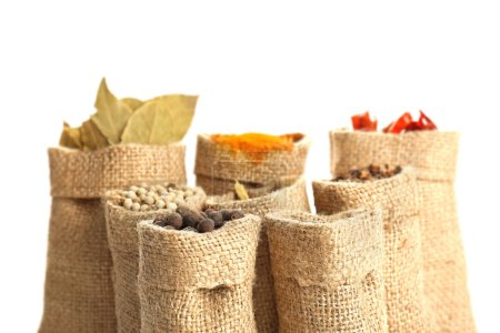 Spices in sacking bags