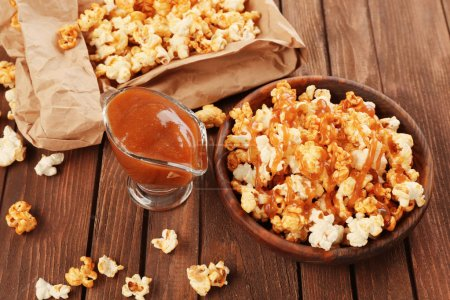 sweet popcorn and caramel sauce