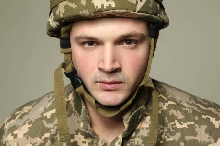 Soldier in camouflage, closeup