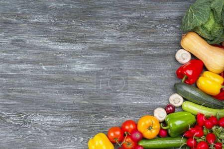 Photo for Fresh vegetables frame on wooden background - Royalty Free Image