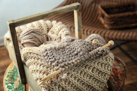 Knitting yarn and needles