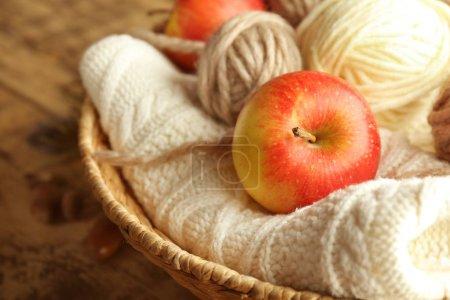 Apple and knitting yarn