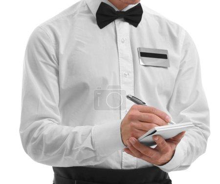 Cute waiter taking an order