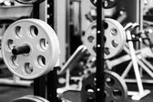 Modern equipment in gym