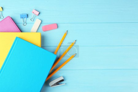 Colorful notebooks and office supplies