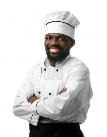 Photo for African American chef in uniform on white background - Royalty Free Image