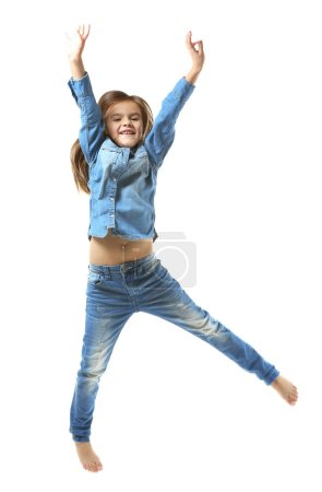 Cheerful little girl jumping