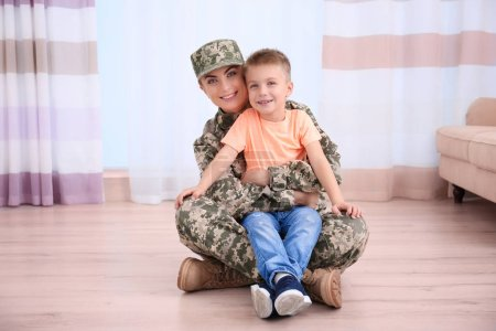 Mother soldier and kid