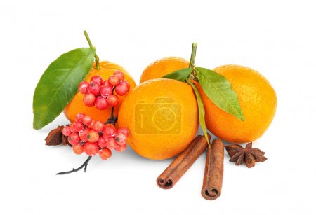 Juicy tangerines with spices