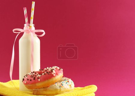 Donuts and bottle of milk