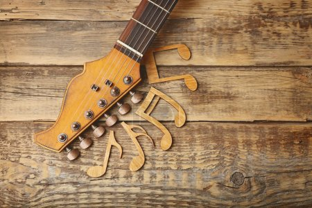 Guitar neck and music notes