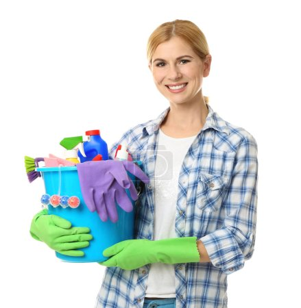Pretty woman with cleaning supplies