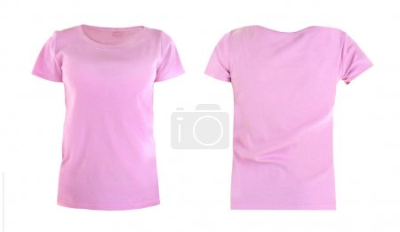 Photo for Front and back views of t-shirt on white background - Royalty Free Image