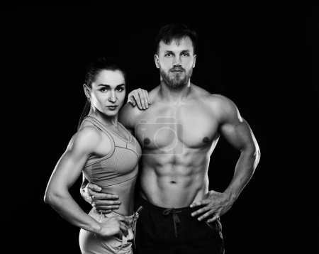 sporty couple in gym