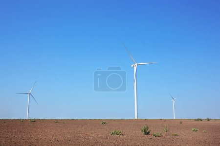 Windmills in summer field