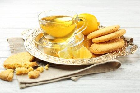 cookies, green tea and lemons