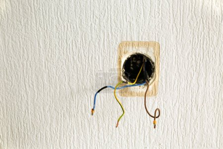 Wall with wires of socket