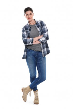 woman in jeans and checkered shirt