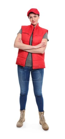 Woman in red sleeveless jacket