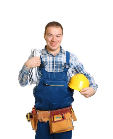 Electrician with special tools on white background