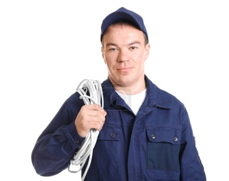Electrician in uniform on white background