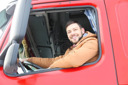Driver in cabin of truck