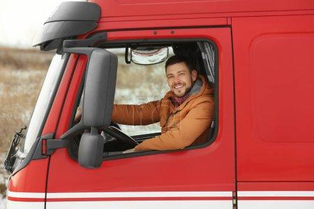 man driving modern truck