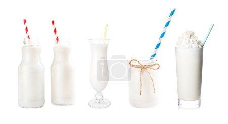 Fresh milk in different dishware