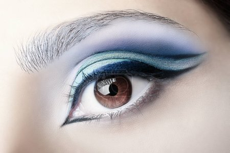 Female eye with professional makeup