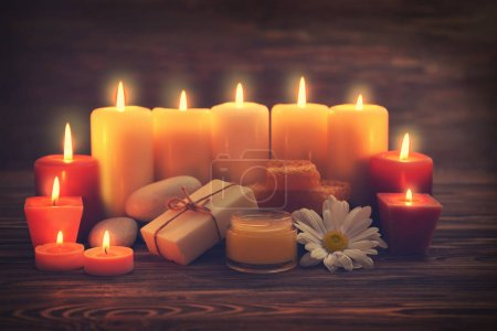 alight candles and honey treatments