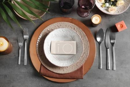 Photo for Beautiful table setting on grey background - Royalty Free Image