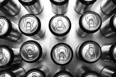 silver cans of beer