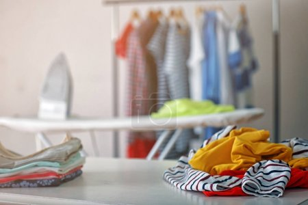clothes on table at home