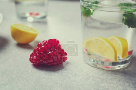 Glass of cold fruit cocktail
