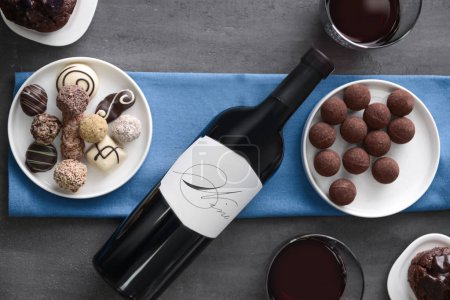 chocolate sweets and red wine