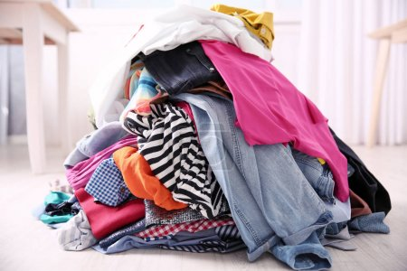 Photo for Messy colorful clothing, closeup - Royalty Free Image