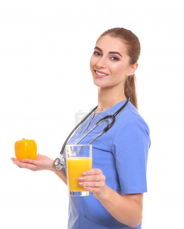 Young female nutritionist on white background