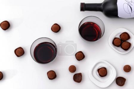 chocolate truffles and red wine