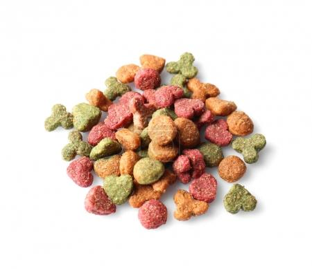 Pile of dry food for animals on white background...