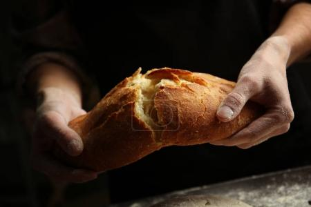 Hands breaking baked bread
