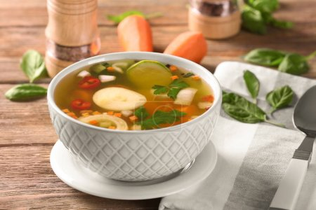 Bowl with vegetable soup