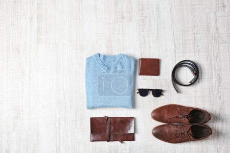 Photo for Stylish male clothing set on wooden background - Royalty Free Image