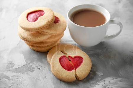 Cookies with coffee on grunge background