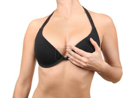 Photo for Plastic surgery concept. Closeup view of woman in black bra - Royalty Free Image